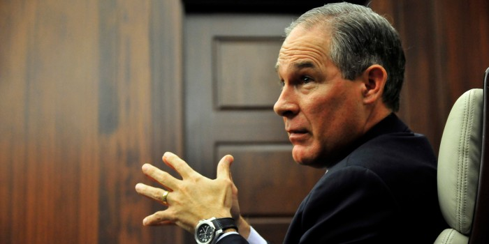 Oklahoma Attorney General Scott Pruitt in a meeting at his office in Oklahoma City