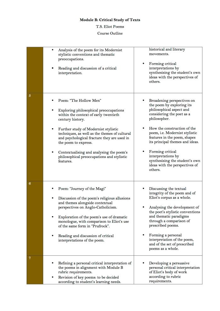 2. Module B T.S. Eliot Course Structure