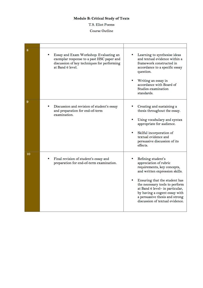 3. Module B T.S. Eliot Course Structure